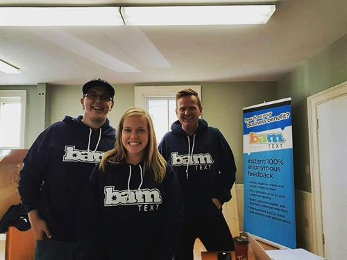 The BamText Team sporting their BamText Hoodies