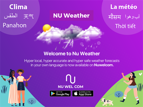 Nu Weather: Hyper local, hyper accurate and hyper safe weather forecasts in your own language is now available on Nuwelcom.