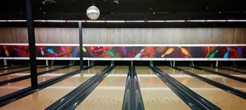 Custom wide format displays for the local bowling alley.