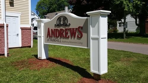Highly detailed, double sided, dimensional monument sign.