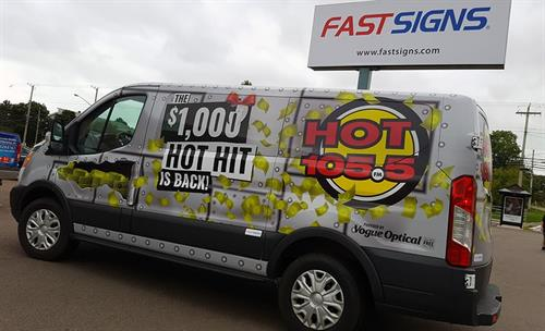Full vehicle wrap for an exciting radio promotion.