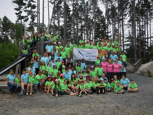 Camp Goodtime campers in Nova Scotia. This summer, 10 Islander children facing a cancer journey joined their peers at Brigadoon Village