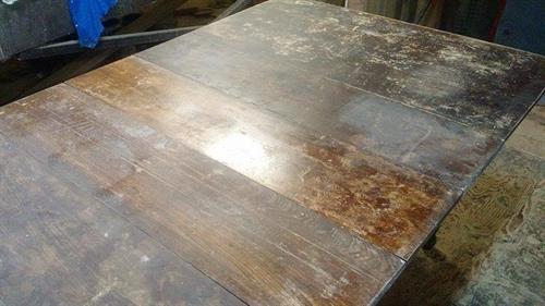 An elm Table before being restored