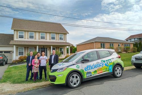 Mo Ji and his family - winners of the heat pump prize from our Spring events with the City of Charlottetown - May 2019