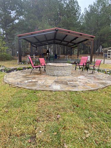 Beautiful fire pit and pavilion