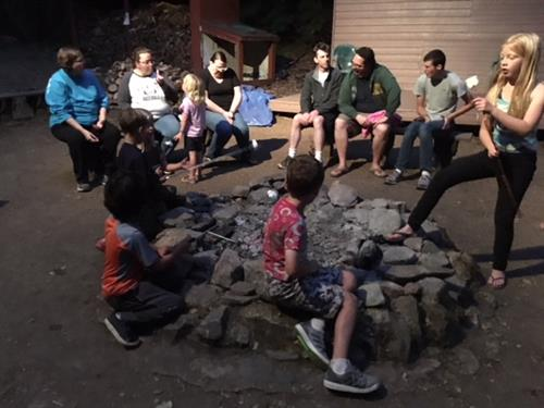 Hanging out at the campfire - meeting new friends