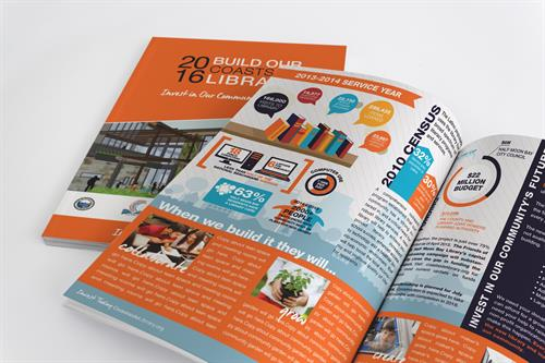 Printed Collateral; Half Moon Bay Library Capital Project Proposal.  Collaborative Project with The Graphic Works