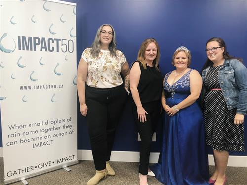 Our Final three Candidates; L-R Taylor Madge fr She Speaks United, Founder and Dawn Macdougall from Next Level Consulting, Angela Pauls fr The Prom Project, and Danielle Bourdin fr Embolden Private Dayhome  Community.