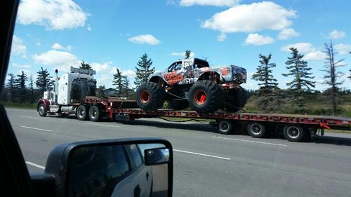 Tractor Trailer Division hauling Monster Truck to Castrol Raceway