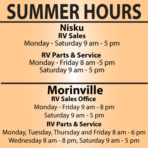 RV City in Nisku has changed their hours
