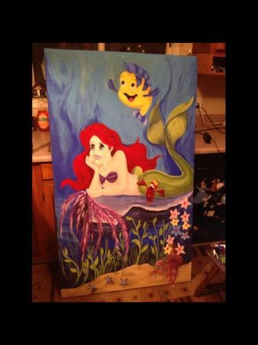 """Ariel and Flounder"" The Little Mermaid acrylic painting on canvas 72x48"""