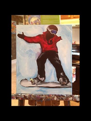 """Snowboarder"" caption acrylic painting on canvas 16x20"""