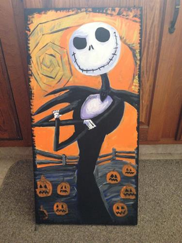 """Jack Skeleton"" Nightmare before Christmas acrylic painting on canvas 12x24"""