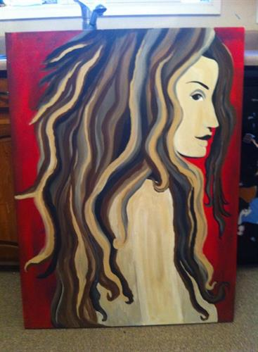 """Beautiful Girl"" acrylic painting on canvas 48x36"""