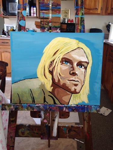"""Kurt Cobain"" Nirvana acrylic painting on canvas 16x20"""