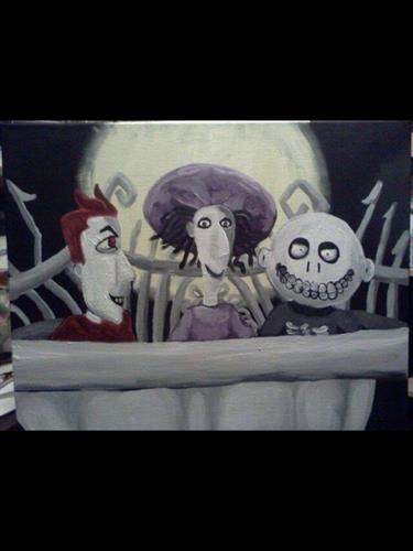 """Nightmare before Christmas"" characters acrylic painting on canvas 16x20"""
