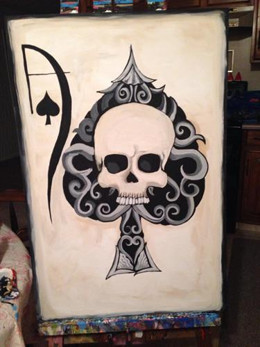 """Ace of Spades"" acrylic painting on canvas 36x24"""