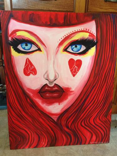 """Queen of Hearts"" Alice in Wonderland acrylic painting on canvas 30x24"""