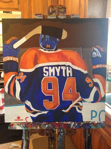 """Ryan Smyth"" Edmonton Oilers acrylic painting on canvas 30x24"""