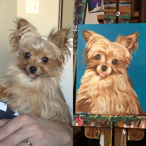 "Custom ""Sammi"" pet portrait acrylic painting on canvas 12x18"""