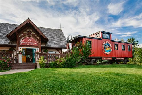 Our Railway Cafe is inside this vintage Great Northern Caboose!