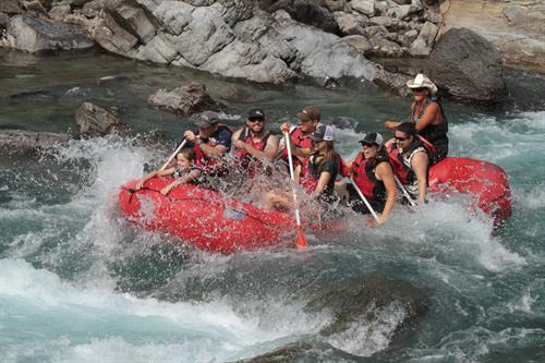 Rafting through Bone Crusher rapid!
