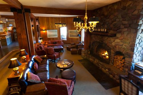 Wood burning fire smell, sound and warmth greet you at Kandahar Lodge.