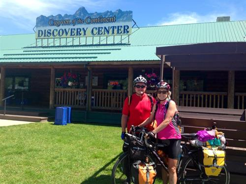 The bike path goes right by the Discovery Center. Cyclisits shop in our outdoor gear shop
