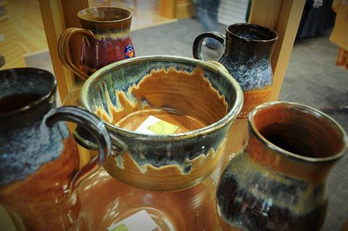 Beutiful pottery by several Montana pottters make great keepsakes and gifts