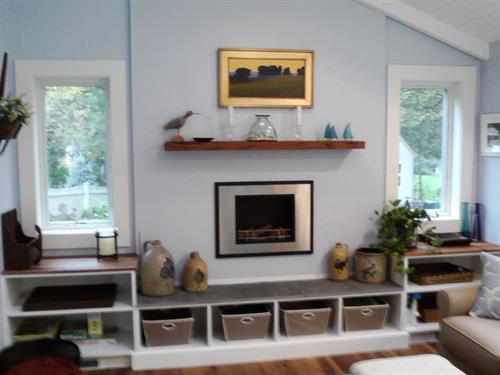 4 Season sunroom with storage and seating area