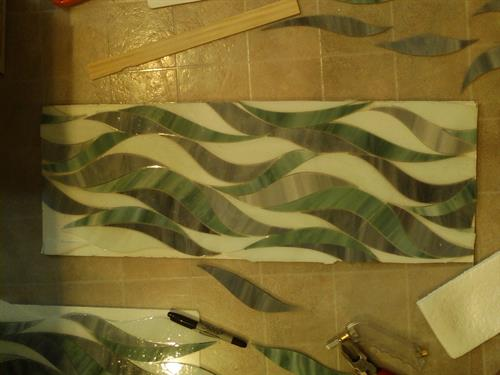 Creating Glass Tile artwork for Green Master Shower
