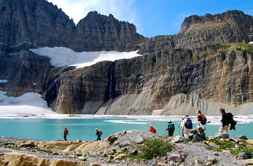 Custom day hike to Grinnell Glacier, one of the largest remaining glaciers in the park.