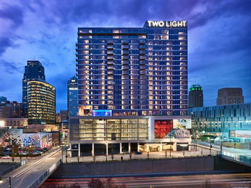 Two Light is located at the intersection of the Crossroads Arts District & Power & Light District