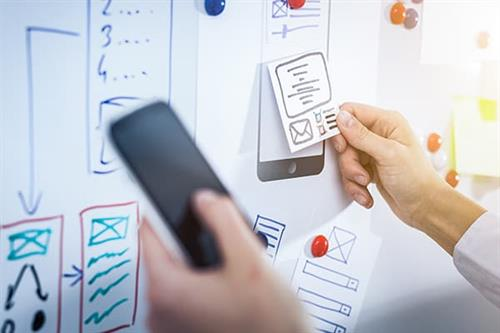 We do UX Research and UI design to inform app and webapp creation.