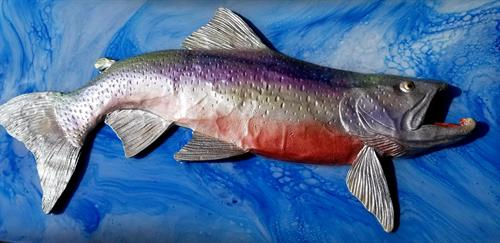 3-D Salmon created from volcanic ash & sand on canvas