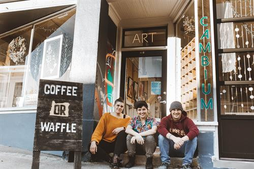 Owners Kirista Trask and Audrey Long along with business partner and owner of Coffee Or Waffle Josh Jensen