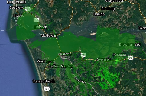 Clatsop County & Vicinity Fixed Wireless Coverage - May 2021