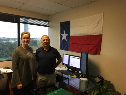 Mary Lamb and Carlos Candanosa in the front office