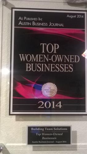 Building Team Solutions named  Austin Business Journal Top Woman Owned firm