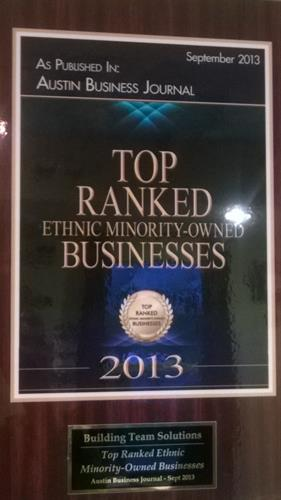Building Team Solutions ranked as one of Austin Texas's top minority firms in 2013