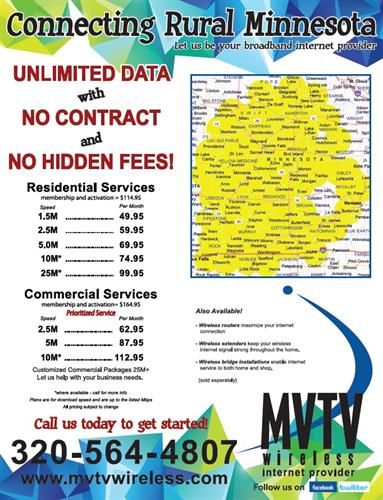 Now offering speeds up to 25M! Fast, affordable and reliable broadband internet service.
