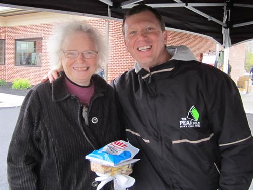 Grand Opening on 11/1/14  - Joe Black from WYCR The Peak 98.5 Radio with a visitor
