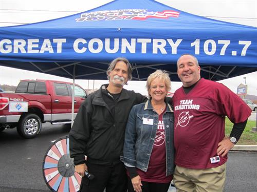 Hanover branch Grand Opening on 11/1/14 - Mike Kelly and Ruth Shaffer with Paesan from WGTY Great Country 107.7