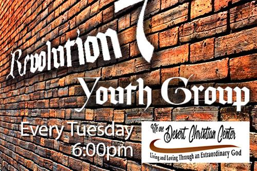 Revolution7 is Desert Christian Center's Youth Group that meets every Tuesday at 6:30pm.
