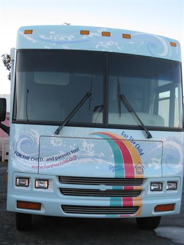 Front Wrap for a 35' mobile counseling center for For The Child, non profit, Long Beach