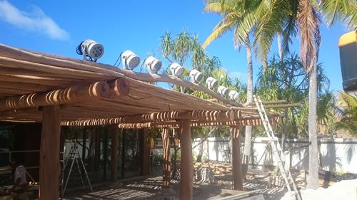 Installing show lights at The Brando hotel Tetiaroa, French Polynesia