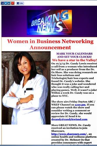 Women in Business Networking Announcement of Dr. Candy appearance on The Dr. OZ Show
