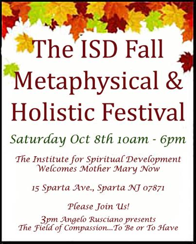 October 8th, 2016 The Institute for Spiritual Development's Fall Holistic & Metaphysical Fair Event