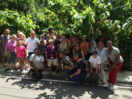 Our Group outside the Cocoa factory in the DR