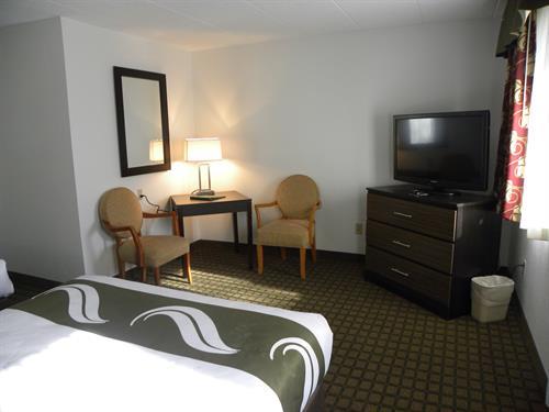 "Standard room setting area 42"" flat screen tv"